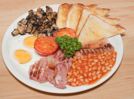 bacon baked beans: Full english breakfast dish