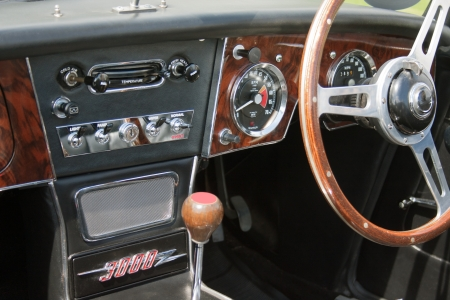 Front panel of English sports classic car  Stock Photo