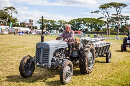 Vintage tractors on Manx Southern Agricultural Show taken on 31.7.2016 near old Isle of Man capital- Castletown. Editorial
