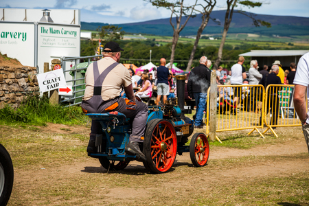 steam traction: Mini Steam Traction vehicle on Manx Southern Agricultural Show taken on 31.7.2016 near old Isle of Man capital- Castletown.