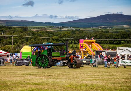 display machine: Steam Roller on display at Manx Southern Agricultural Show taken on 31.7.2016 near old Isle of Man capital- Castletown. Editorial