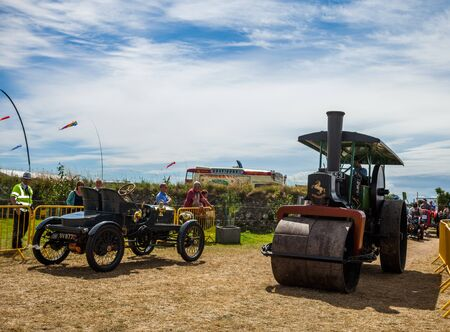 Steam Roller on display at Manx Southern Agricultural Show taken on 31.7.2016 near old Isle of Man capital- Castletown. Editorial