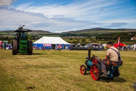 traction: Mini Steam Traction vehicle at Manx Southern Agricultural Show taken on 31.7.2016 near old Isle of Man capital- Castletown. Editorial