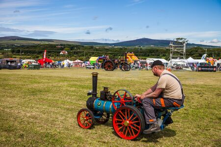 steam traction: Mini Steam Traction vehicle at Manx Southern Agricultural Show taken on 31.7.2016 near old Isle of Man capital- Castletown. Editorial