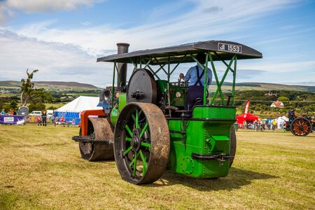 steam roller: Steam Roller on display at Manx Southern Agricultural Show taken on 31.7.2016 near old Isle of Man capital- Castletown. Editorial