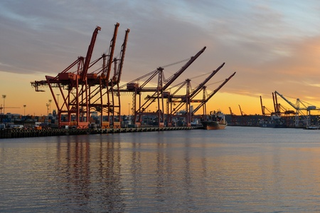Loading cranes shipyard Stok Fotoğraf