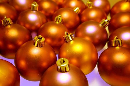 Golden Christmas baubles photo