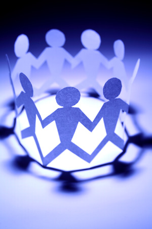 linked hands: Team meeting