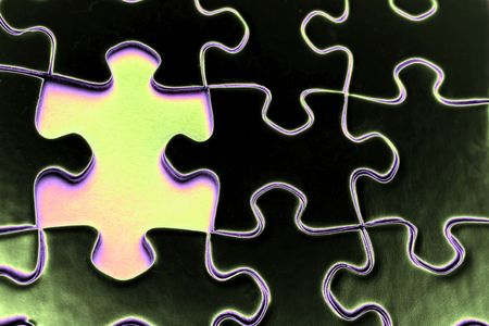Piece missing from jigsaw puzzle Stock Photo - 1795707