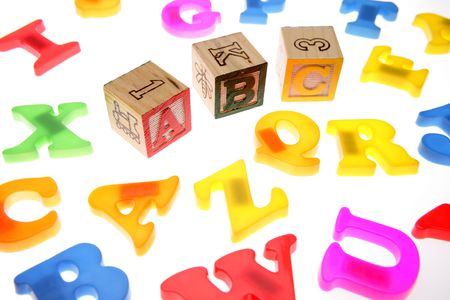 Alphabet blocks over white Stock Photo - 2039755