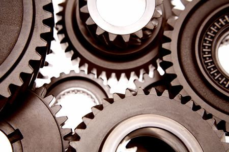 interlock: Metal gears over white background