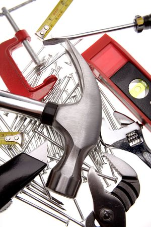 Assorted tools over white background Stock Photo - 2085226