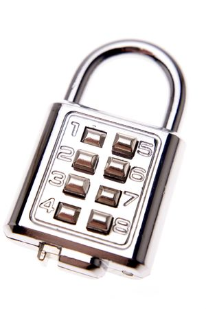 Combination padlock isolated over white photo