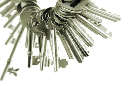 keyring: Assorted keys on keyring Stock Photo