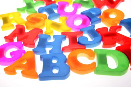 Colorful alphabet letters over white Stock Photo - 2131504