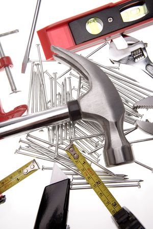 Assorted tools on white photo