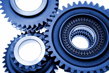 Gears over white photo