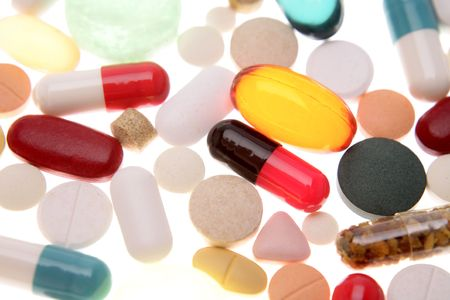 Assorted pills and tablets close-up Stock Photo - 2154674