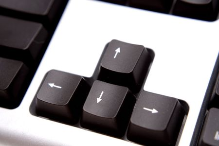 peripherals: Close-up of arrow keys on computer keyboard