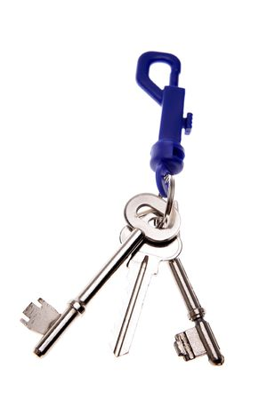 Three keys on keyring isolated photo