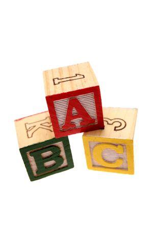 ABC learning blocks isolated over white photo
