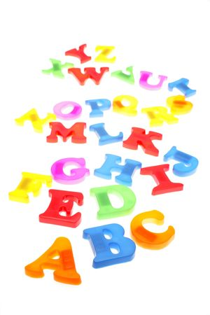 Alphabet letters over white background photo
