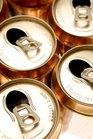 Open aluminum drink cans photo
