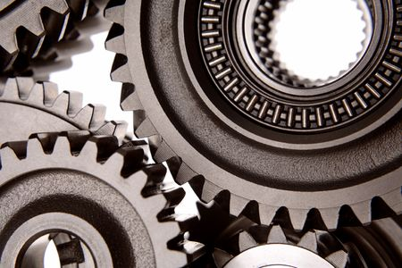 interlink: Closeup of steel gears
