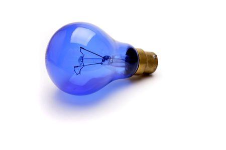 Blue lightbulb over white photo