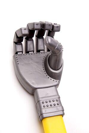 Robot hand over white photo