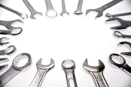 handtools: Spanners on white