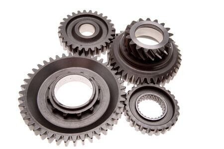 meshing: Gears meshing together over white Stock Photo