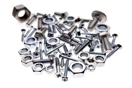 Nuts and bolts on white Stock Photo - 2276235