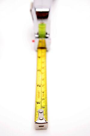 carpenter items: Tape measure over white Stock Photo