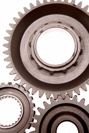 Closeup of three metal gears  photo