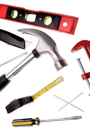varied: Tools over white