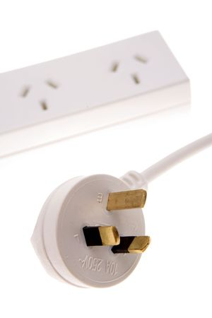 Electrical plug and power-board over white Stock Photo - 2309594