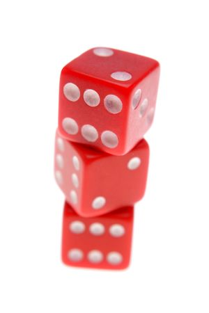 luckiness: Three red dices isolated over white