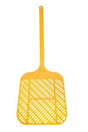 exterminate: Yellow fly swatter isolated over white