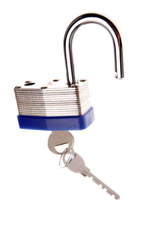 Padlock and keys over white photo