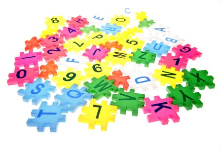 Alphabet letters and numbers over white Stock Photo - 2334833