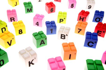 Colorful learning blocks over white Stock Photo - 2334917