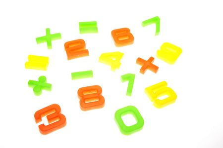 Mathematical numbers and symbols over white Stock Photo - 2334311