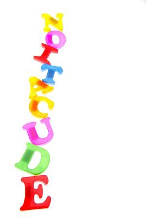 Alphabet letters spelling education over white photo