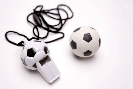 Football whistle and ball Stock Photo - 2444994
