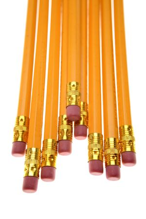 Yellow pencils over white background photo