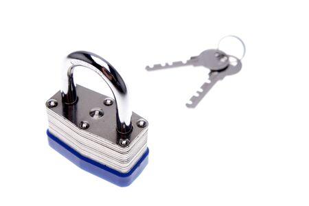 Padlock and keys isolated over white photo