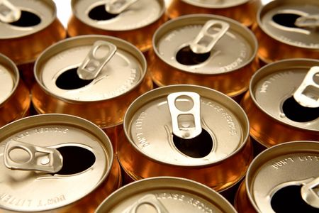 Open aluminum drink cans