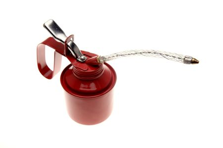 Red oil can isolated over white photo