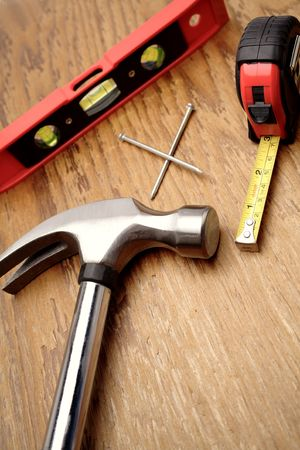 Tools on wooden panel Stock Photo - 2685098